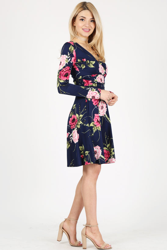 navy pink floral