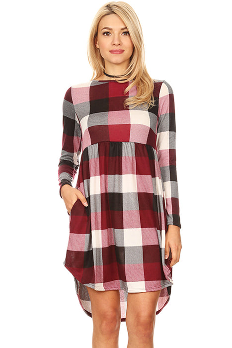 Womens Plaid Gingham Long Sleeve High Low Dress with Pockets - Made in USA