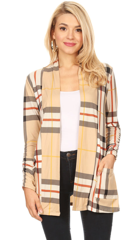 khaki plaid ruched sleeve