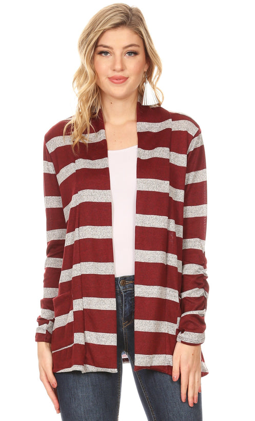 heather grey - burgundy stripe
