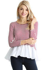 Load image into Gallery viewer, Share the Stripes Ruffle Top