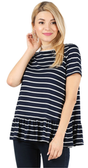 Load image into Gallery viewer, striped navy/white/ short sleeve