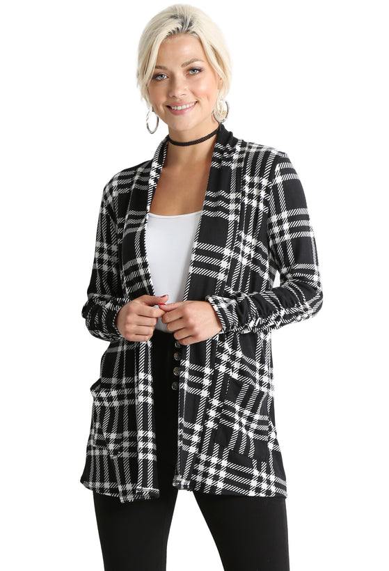 black - ivory plaid