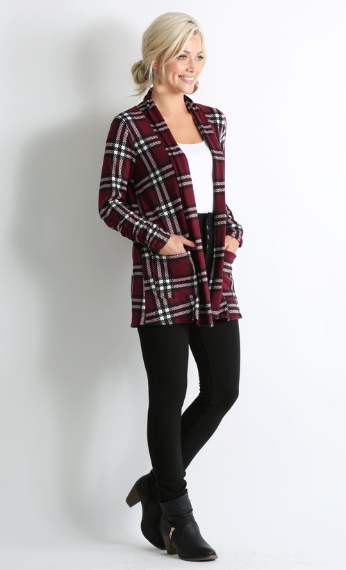 burgundy - ivory plaid