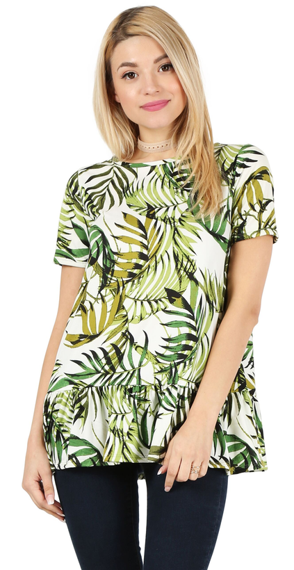 green leaf print/ short sleeve