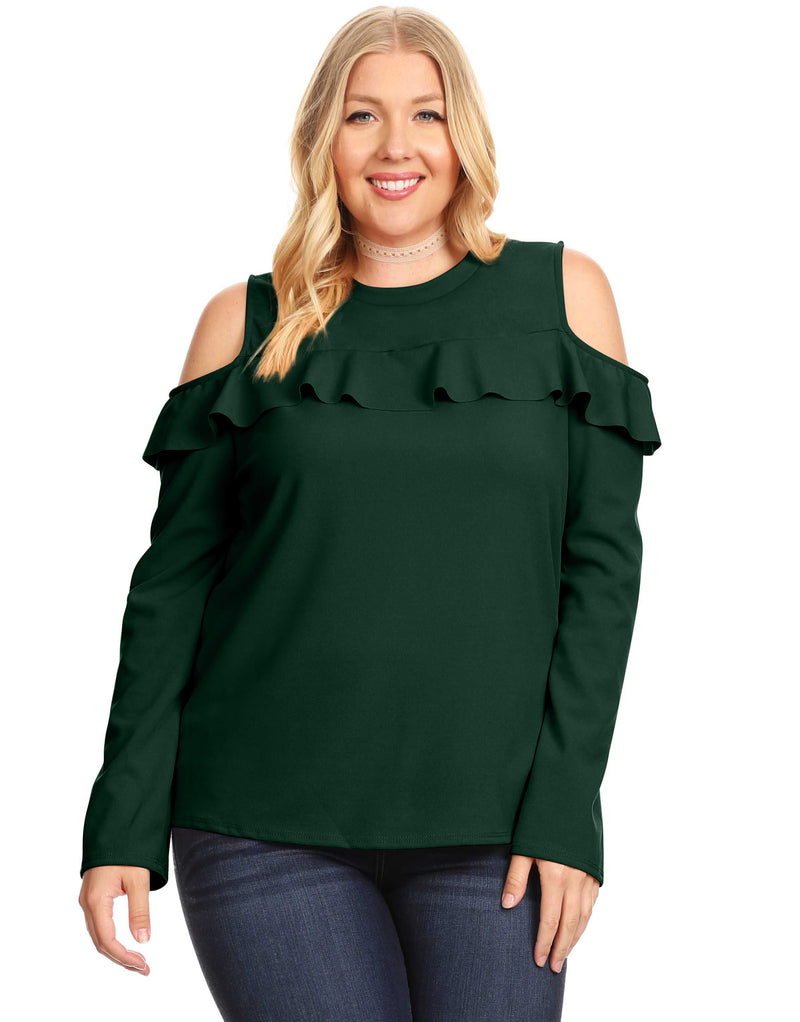 SHOULDER FLASHING FRILL TOP PLUS SIZE - PLUS SIZE