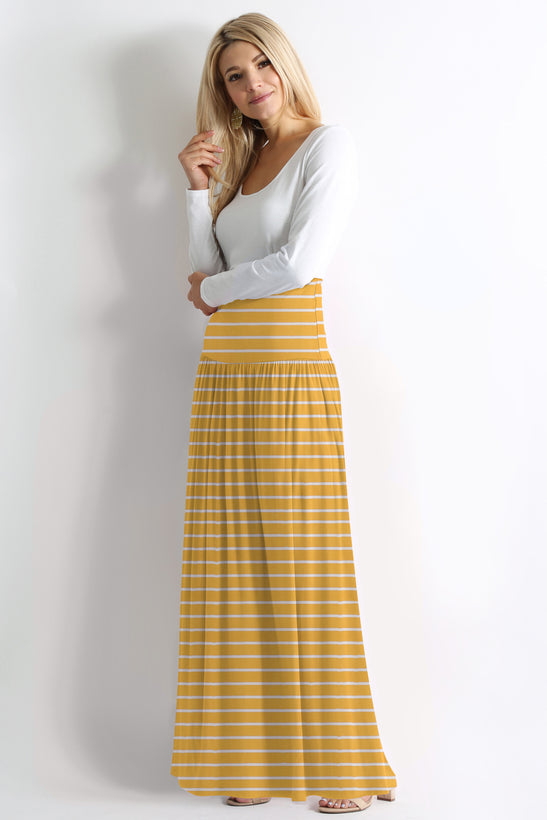 mustard/ivory stripe ankle-length