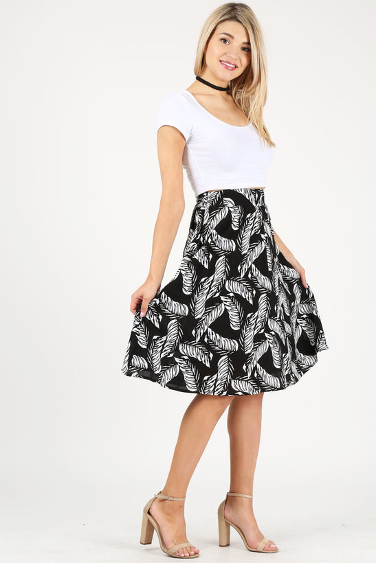 blck/whte feather print