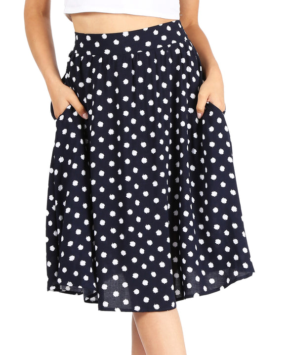 navy/white polka dot print