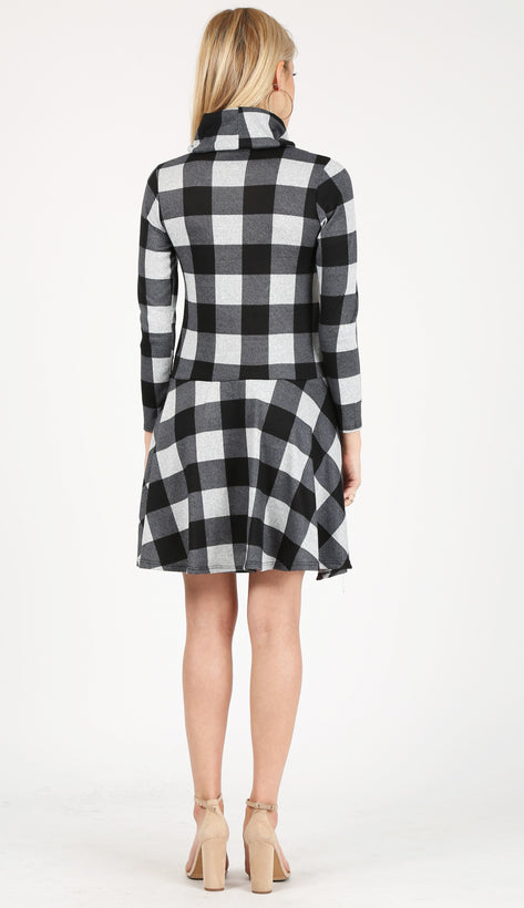 black - heather grey checkered