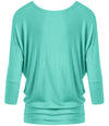 DAZZLING DOLMAN DRAPE SLEEVE TOP - MINT