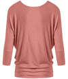 DAZZLING DOLMAN DRAPE SLEEVE TOP - DUSTY ROSE