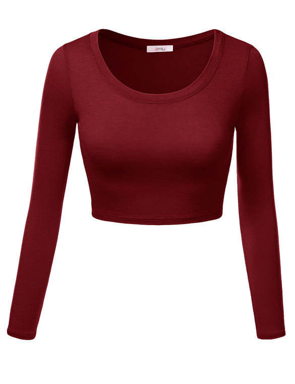 Crop Top for Women Crew Neck Basic Long Sleeve Crop Top - USA