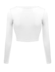 Load image into Gallery viewer, Crop Top for Women Crew Neck Basic Long Sleeve Crop Top - USA