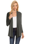 Charcoal Long Sleeve Drape Open Cardigan