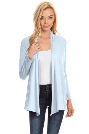 Sky Blue Long Sleeve Drape Open Cardigan