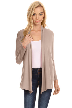 Light Khaki Long Sleeve Drape Open Cardigan