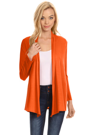 Orange Long Sleeve Drape Open Cardigan