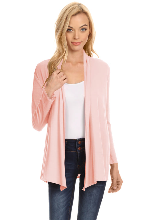 Peach Long Sleeve Drape Open Cardigan