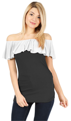 Load image into Gallery viewer, black/cotton white ruffle