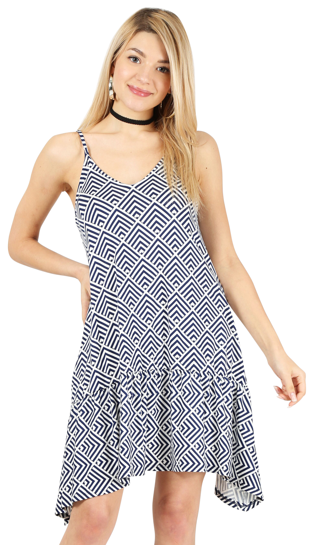 navy/ivory print-sleeveless