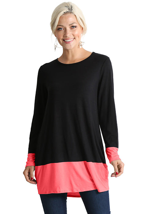 Long Sleeve Color Block Long Shirt for Women Reg and Plus Size Tunic Tops - Made In USA