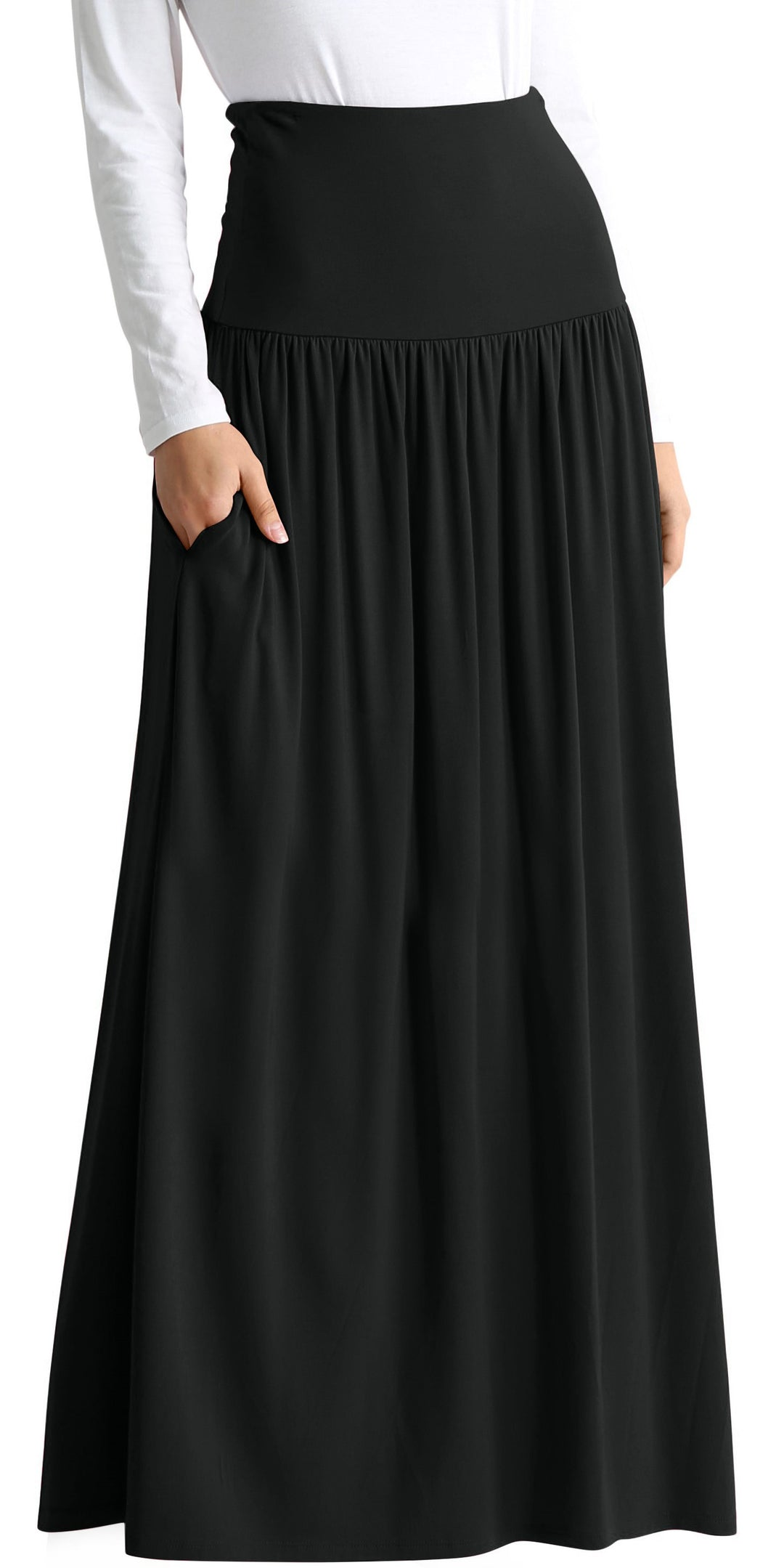 black floor length