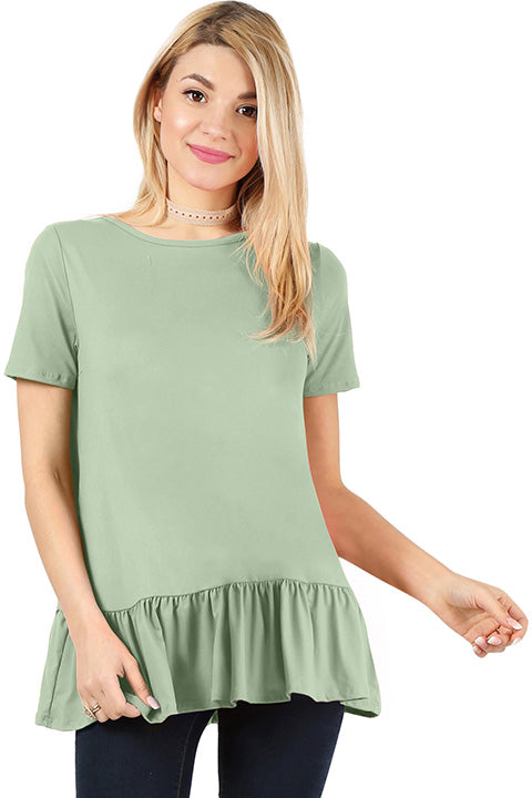 Play With Peplum Tunic Top Short Sleeve