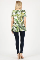 Load image into Gallery viewer, green leaf print/ short sleeve