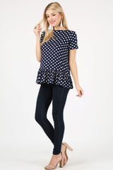 Load image into Gallery viewer, polka dot navy/ivory /short sleeve