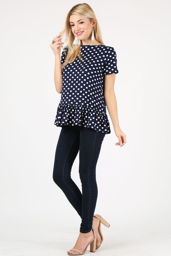 polka dot navy/ivory /short sleeve