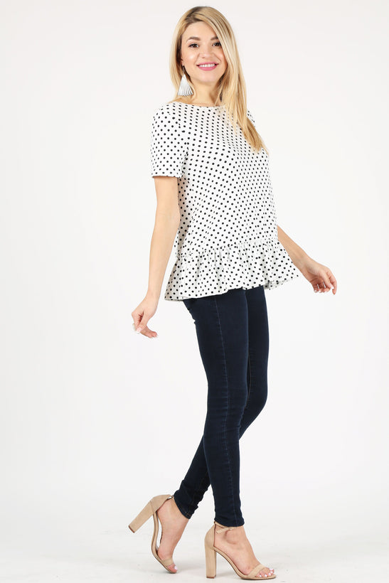 polka dot white/black /short sleeve