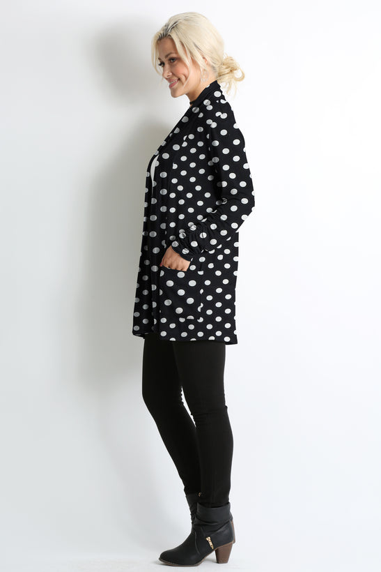 big black dots pocket ruched sleeve