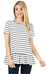 Load image into Gallery viewer, striped white navy short sleeve