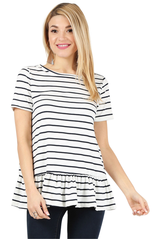 striped white navy short sleeve