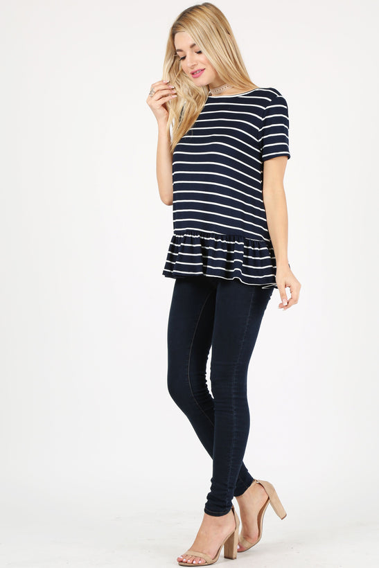 striped navy/white/ short sleeve