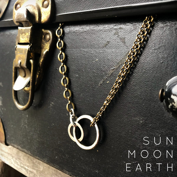 Monday Madness: Sun + Moon + Earth Necklace, Bronze Edition