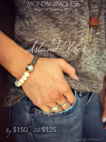Michele F + Monday Madness + Island Vibes + Aquamarine + African Glass + Pearls + Minot, North Dakota
