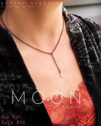 Monday Madness + Michele F + Moon Phase Necklace + Moon Jewelry