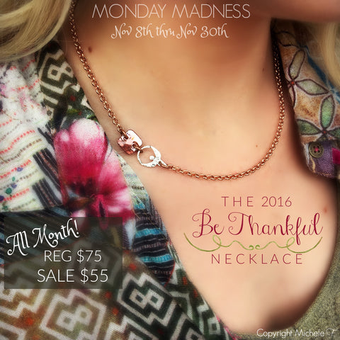 Monday Madness + Michele F + Swarovski + 2016 + Be Thankful Necklace + Angel + Courage