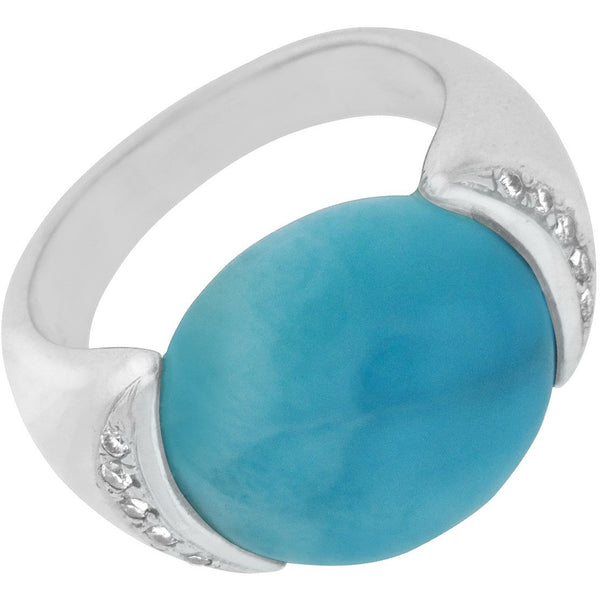 Precious Blue Larimar and Diamond 14K White Gold Ring