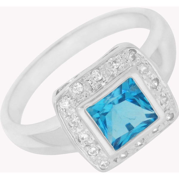 Princess Style Topaz and Cubic Zirconia Sterling Silver Ring