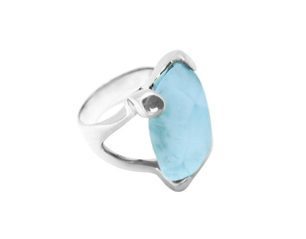 Waves of the Sea Larimar Ring