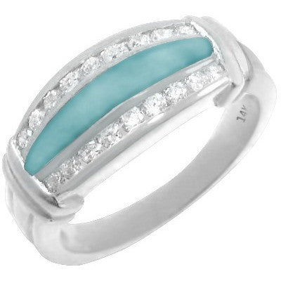 Larimar Surround 14K White Gold Ring