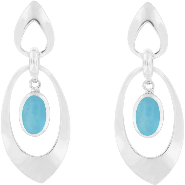 Beautiful Caribbean Wink ~ Larimar ~ Sterling Silver Earrings