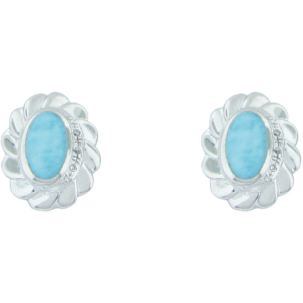 Flor de Caribe ~ Larimar Sterling Silver Earrings