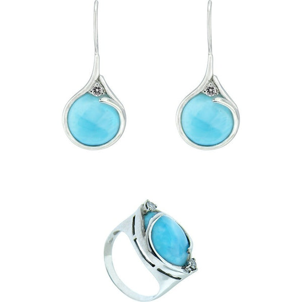 RIGHT AT THE CENTER Earrings and Ring Set.      ~14K White Gold, Diamond and Larimar