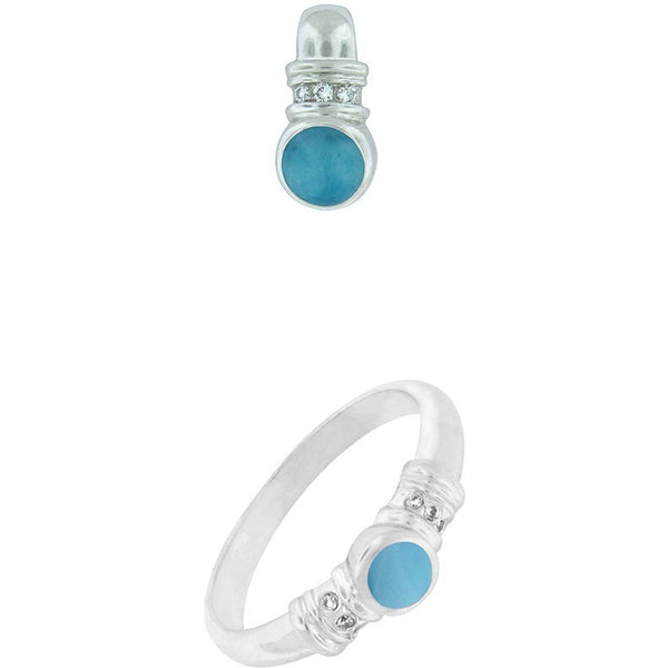 LARIMAR DOT Pendant and Ring Set              14k White Gold with Diamond and Larimar