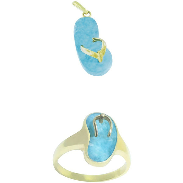 BABY STEPS Larimar Set    ~14K Yellow Gold and Larimar. BEST SELLER!