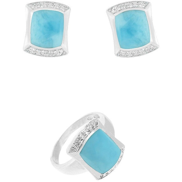 ARMOR OF LOVE Earrings and Ring Set  ~Sterling Silver with Larimar and Cubic Zirconia . LAST ONE!